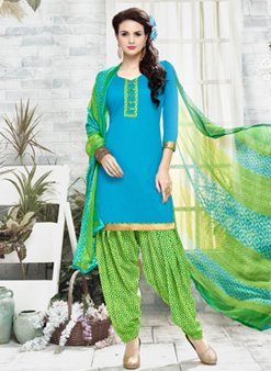 Stylee Lifestyle Blue Cotton Printed Dress Material 1139